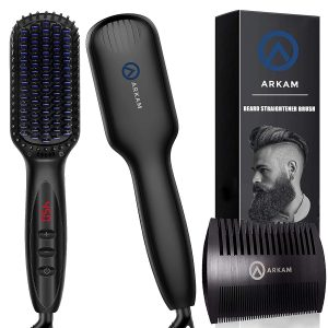 6. Arkam Men's Beard Straightener with Anti-Scald Feature for Home & Travel