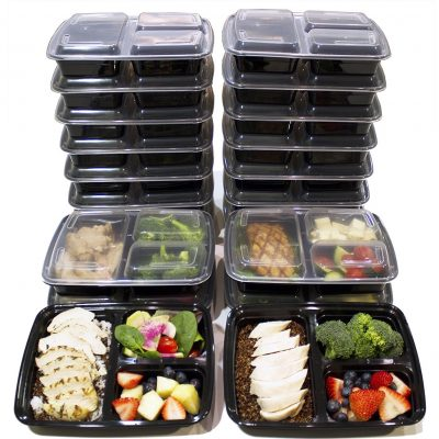 Misc Home 20-Pieces Plastic Compartment Meals Prep Containers