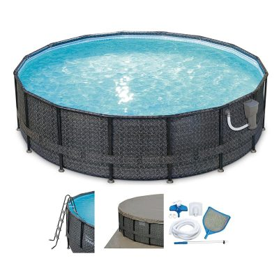 Elite Wicker Print Frame Pool Set/Pump 16′ by 48″from Summer Waves