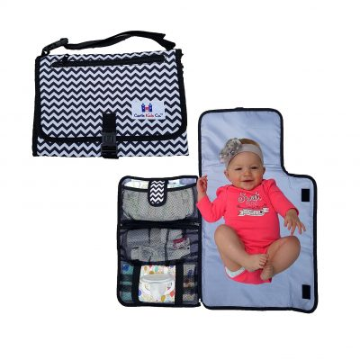 Portable all in one Luxury/ Diaper Changing Travel Pad/ Grey and Black, Mat