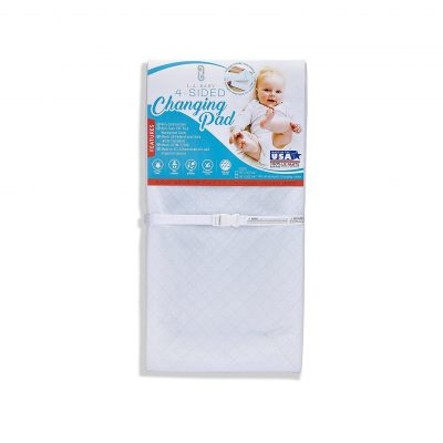 Changing Pad with 4 Sides, Baby LA Waterproof, Non-Skid Bottom Easy to Clean, Safety Strap, compatible with any Regular Changing Table