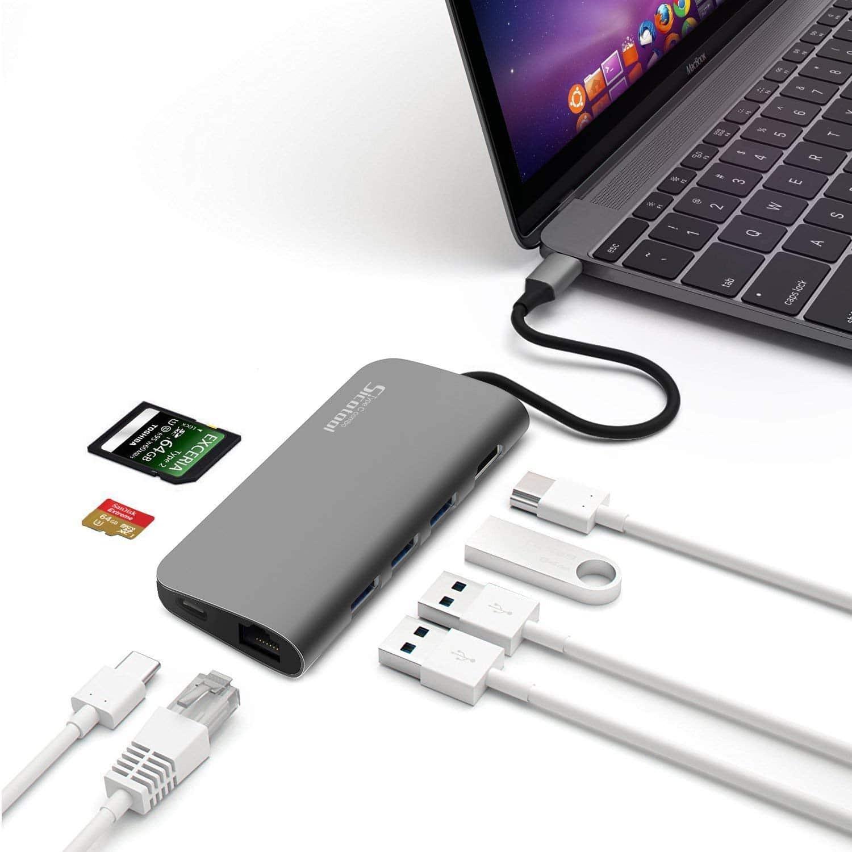 Sicotool USB C Hub Aluminum 8 in 1 Multi Port Adapter
