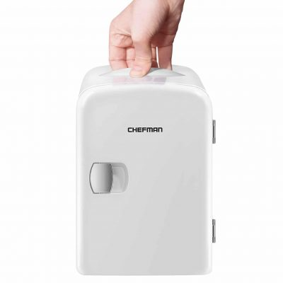 Chefman Portable 4L Capacity Mini Fridge-Warmer & Cooler, 100% Eco-Friendly & Freon-Free White
