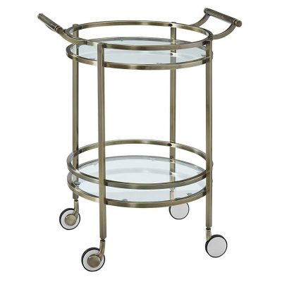 Powell 13K167 Round Antique Brass Serving Cart