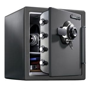 1. SentrySafe SFW123DSB Fireproof and Waterproof Safe, 1.23 Cubic Feet