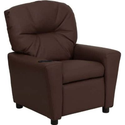Streak Furniture Contemporary Brown Leather Kids Recliner