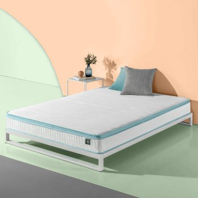 Zinus 8-Inch Mint Green Hybrid Spring Mattress, Full