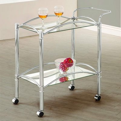 Chrome Coaster tradition Serving Cart with Casters and Mirrored Bottom Shelf from Coaster Home Furnishings