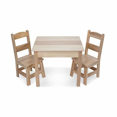 Melissa & Doug Solid 2 Chairs Set and Wood Table