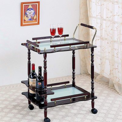 Merlot Coaster Traditional Serving Cart with Casters and Frosted Glass Top from Coaster Home Furnishings