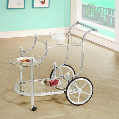Coaster Traditional Chrome Finish Wheeled Serving Carts