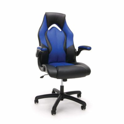 OFM Essentials Racing Style Leather Gaming Chair, ESS-3086-BLU
