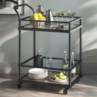 Serving Cart and 45001 Carter Bar, Oak Wood /Matte Black from Nathan James