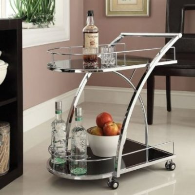Chrome Metal Tempered Glass Serving Cart from eHomeProducts