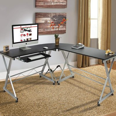Best Choice Products Wood L-Shaped Computer Corner Desk