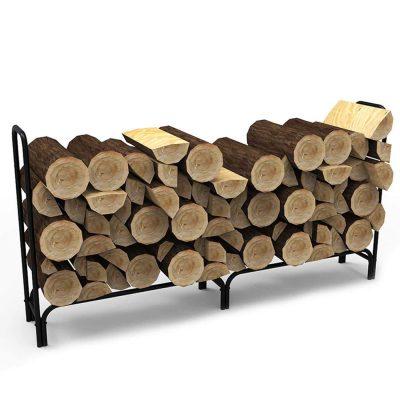 Gibson Living 8-Foot Black Shelter Firewood Log Rack