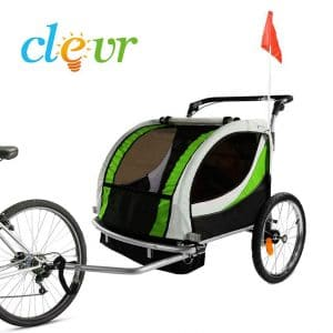 Clevr Green Collapsible 3-in-1, 2 Seats Double Bicycle Trailer