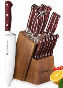 Emojoy15-Piece Kitchen Knife Set & Wooden Block