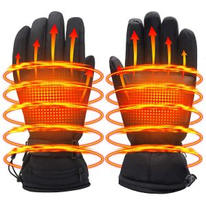 Men Women Hiking Skiing Electric Heated Gloves, Black