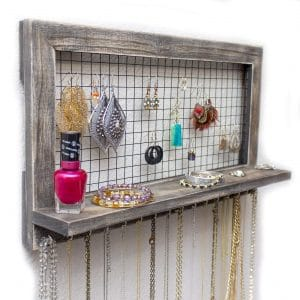 Rustic Wooden Jewelry Organizer