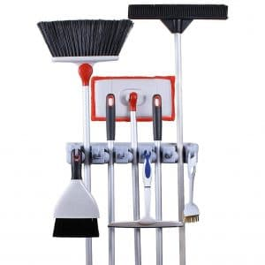 Greenco Broom and Mop Organizer Wall Mount Holder