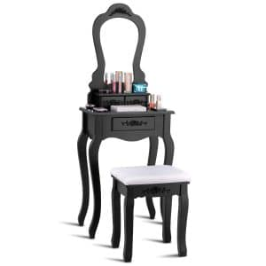 Giantex Vanity Wood Bedroom Makeup Dressing Table and Stool Set