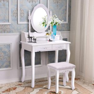 Giantex Vanity Round Mirror Wood Makeup Dressing Table
