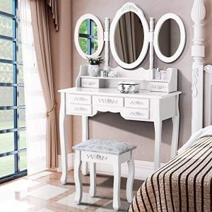 Mecor Vanity Makeup 7 Drawers Table Set with Mirror