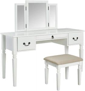 AmazonBasics White Vanity Set with Stool