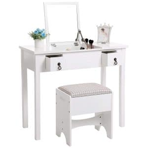 SONGMICS Easy Assembly Vanity Set with Mirror