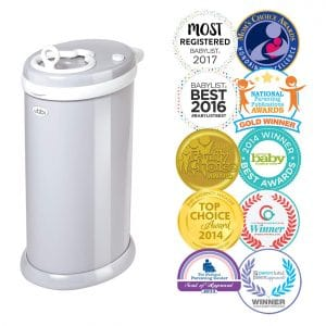 Ubbi Steel Odor-Locking Diaper Pail, Gray