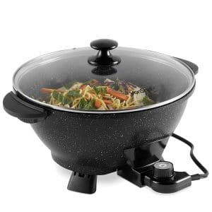 VonShef 7.4Qt Adjustable Temperature 14 Inch Electric Wok with Lid