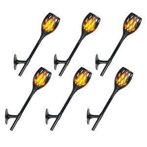 CYBERDAX- Solar Torch Light Outdoor /Indoor Fire Dancing Tiki Style Flickering Flames