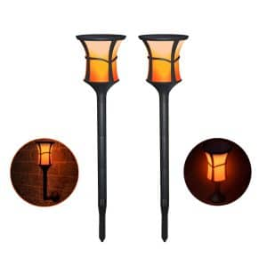 Meedasy Solar Flickering Flame Outdoor Waterproof Torch Lights, 2 Pack