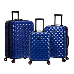 Rockland Quilt 3 Piece Polycarbonate Upright Luggage Set