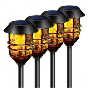Camabel- 55 inches Tall Solar 4 Pack Torches Lights with Flicking Flame Light
