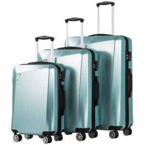 Coolife Luggage Three Piece Sets with an ABS Spinner Suitcase