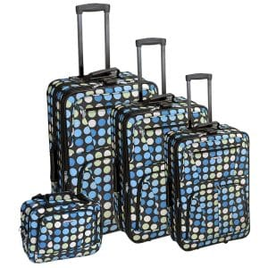 Rockland Luggage Dots Luggage Set,4 Pieces with Blue Dots