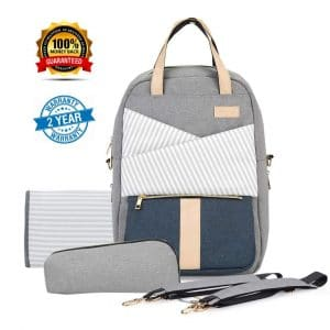 Yilane Diaper Backpack with USB Charging Port (Gray)