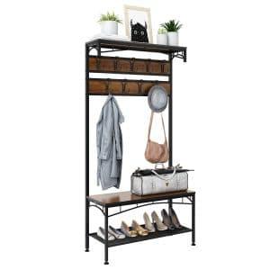 Rackaphile- 3-in-1 Entryway Coat Rack, Shelf Organizer with 18 Hooks