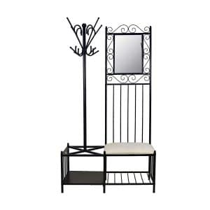 Circlelink Metal Hall Tree Umbrella Holder Black Finish Hallway Coat Rack