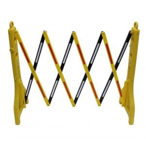 Mobile Plastic Expandable Barricade System, Yellow and black