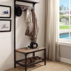 eHomeProducts Vintage Industrial Look Dark Brown Entryway Coat Rack