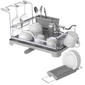 Kingrack-Aluminum Dish Rust Proof Frame Drying Rack with Over Sink Dish Rack