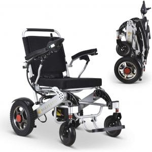 MAJESTIC BUVAN Ultra Lightweight Folding Electric Power Wheelchair, Airline Approved Motorized Wheelchair