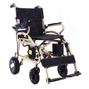 6. Bangeran Ultra Lightweight Folding Motorized Wheelchair (Gold Weight 40lb)