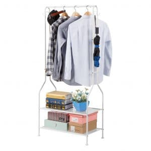 LANGRIA Heavy Duty Clothing 2-Tier Garment Rack, White
