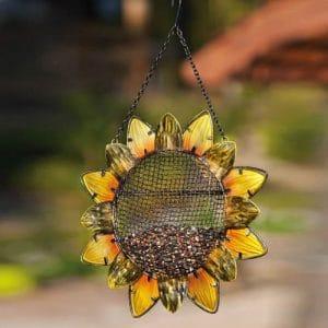 Evergreen Garden Sunflower Metal Hanging Mesh Bird Feeder