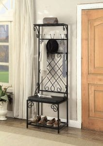 eHomeProducts- Black Metal and 12 Hooks Shoe Bench Storage Organizer