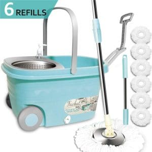8. Favbal Spin Mop and Bucket with Wringer Cleaning Kit for Tiles and Hardwood Floors